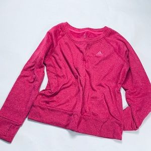 Adidas pink sweater featuring thumb holes